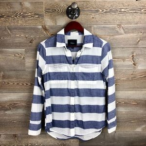 Rails Blue and White Large Stripe Button Down
